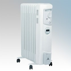 Picture of Dimplex OFC2000TI OFC Range 9 Fin Oil Filled Electric Radiator With Thermostat, 24 Hour Timer & Choice Of Heat Settings 2.0kW