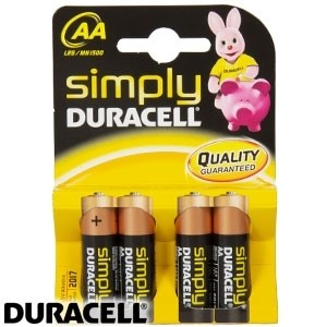 Picture of DURACELL SIMPLY AA ALKALINE BATTERY 4PACK
